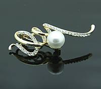 Креативная женская брошь с жемчужиной. Женская бижутерия оптом в Черкассах. 377