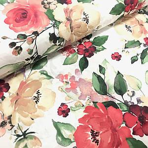 Тканина Польська бавовняна, квіти великі пудрово-бежеві акварель №5 на білому