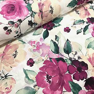 Тканина Польська бавовняна, квіти великі, фіолетово-бежеві акварель №4 на білому