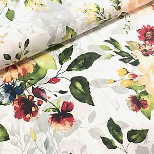 Тканина Польська бавовняна, квіти великі червоно-жовті акварель №3 на білому