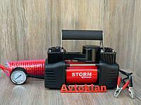 Автомобильный компрессор 2-цилиндровый с зажимами АКБ STORM Bi-Power автокомпресор для шин авто 10 атм, 85