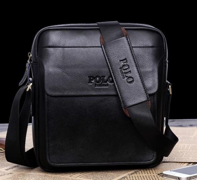 Якісна чоловіча сумка через плече-шкіряна барсетка планшетка Поло, Чоловіча сумка-планшет Polo еко шкіра