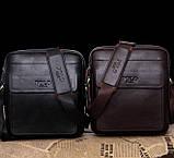 Якісна чоловіча сумка через плече-шкіряна барсетка планшетка Поло, Чоловіча сумка-планшет Polo еко шкіра, фото 2
