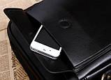 Якісна чоловіча сумка через плече-шкіряна барсетка планшетка Поло, Чоловіча сумка-планшет Polo еко шкіра, фото 3