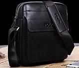 Якісна чоловіча сумка через плече-шкіряна барсетка планшетка Поло, Чоловіча сумка-планшет Polo еко шкіра, фото 6