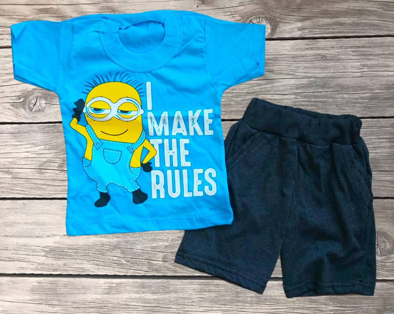 Дитячий літній костюм футболка і шорти для хлопчика Миньйоны розмір 28