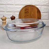 Скляна овальна качатниця з кришкою на 4 л Pyrex, скляна каструля, фото 1