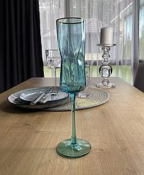 Келих блакитний скло 250 мл фужер для шампанського або соку в кафе бар ресторан