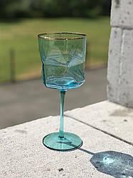 Келих блакитний скло 310 мл фужер для шампанського або вина в кафе бар ресторан