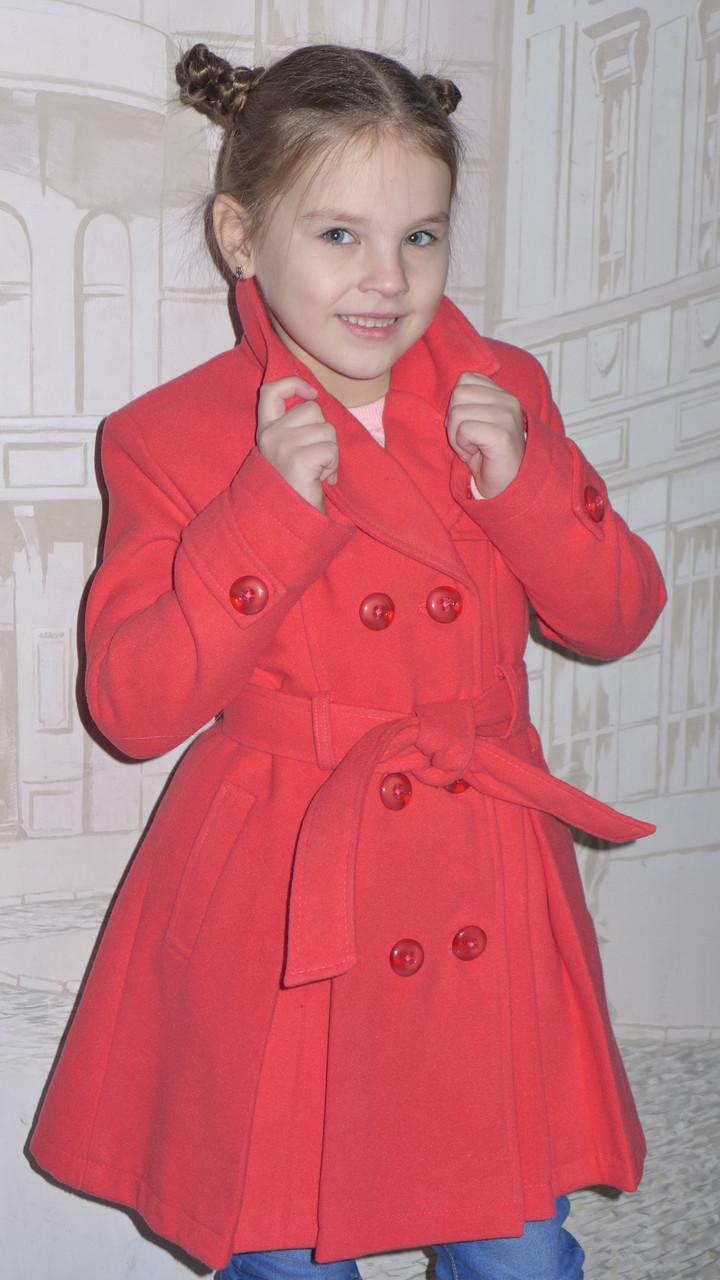 """Кашемировое пальто для девочки  """"Классик"""" (коралл)"""