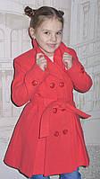 """Кашемировое пальто для девочки  """"Классик"""" (коралл), фото 1"""