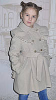 """Детская одежда .   Пальто кашемировое  """"Оборочка""""(бежевое), фото 1"""