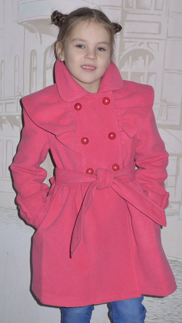 """Детская одежда оптом.   Пальто кашемировое """"Оборочка"""" коралл"""