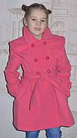 """Детская одежда оптом.   Пальто кашемировое """"Оборочка"""" коралл, фото 1"""
