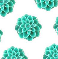 Кабошон 20 мм Хризантема бирюзовая , фото 1