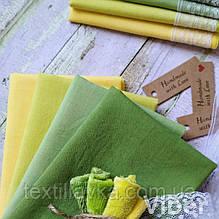 Набор батиста ручного окрашивания  желто-зеленая палитра 4шт.