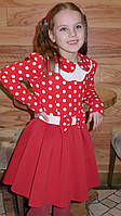 """Платье """" Бантик-горох"""" красное."""