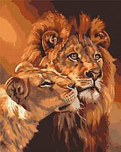 Картина по номерам Львиная любовь 40*50см Brushme Раскраски Хищные львы Лев Семья
