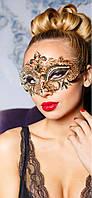 Асимметричная венецианская маска из металла (золотой)