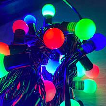 Гірлянда кульки 40LED, Мультик колір, Чорний дріт, 7метрів+перехідник, 18мм лампочка