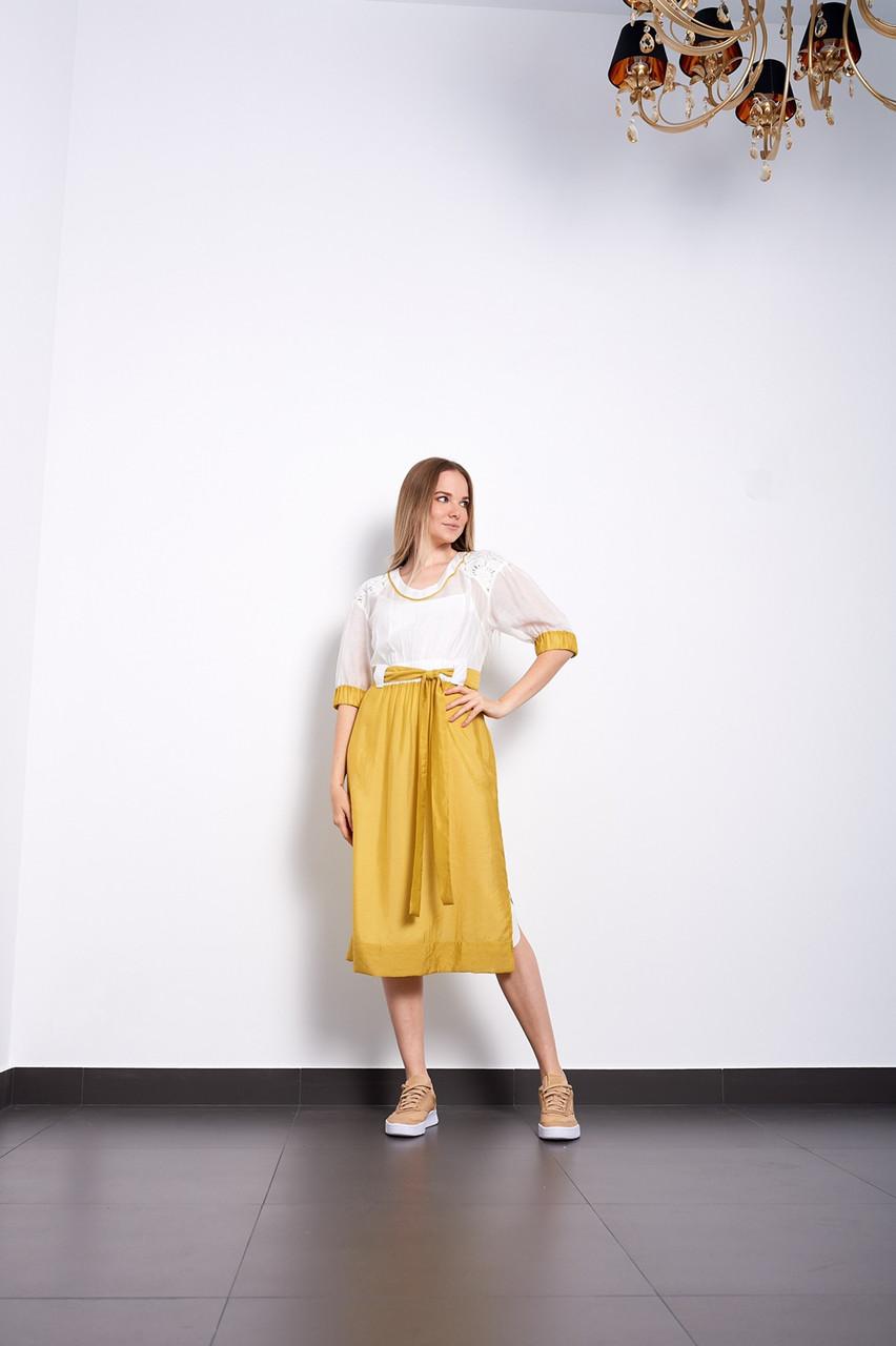 Літнє жіноче плаття жовто-біле шовкове дизайнерське нарядне Pari Іннеса МКPRinnessa