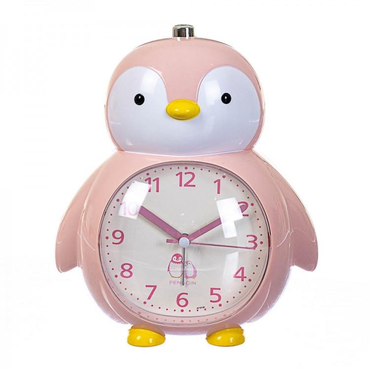 Детский будильник Пингвин (Розовый)