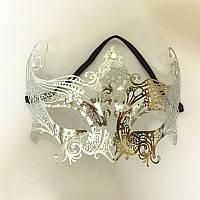 Асимметричная венецианская маска из металла (серебряный)