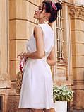 Сукня-трапеція з льону з поясом в комплекті бежеве, фото 4