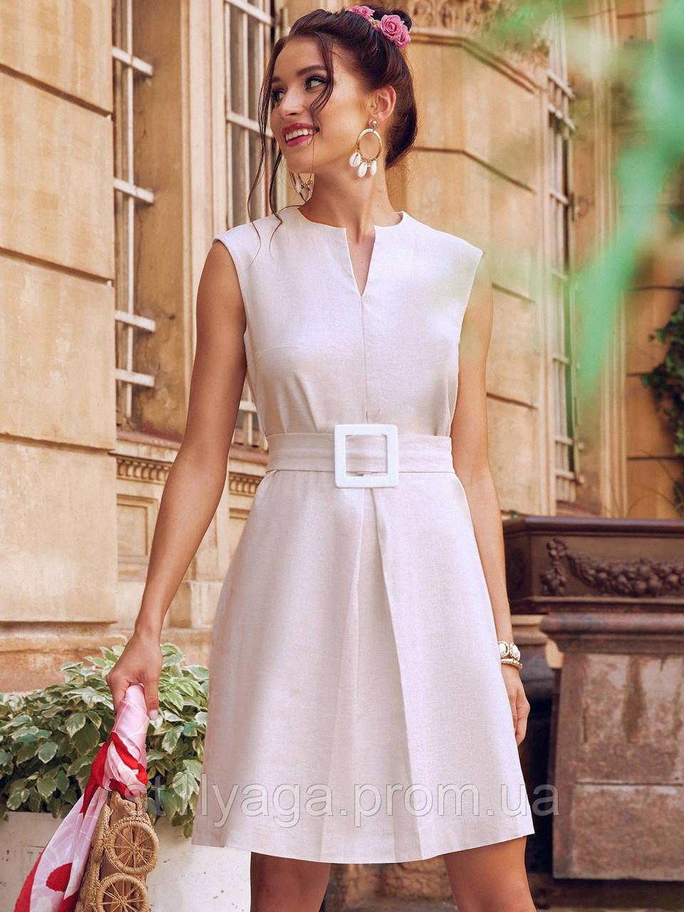 Сукня-трапеція з льону з поясом в комплекті бежеве