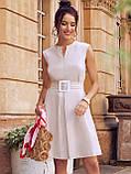 Сукня-трапеція з льону з поясом в комплекті бежеве, фото 2