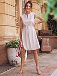 Сукня-трапеція з льону з поясом в комплекті бежеве, фото 3