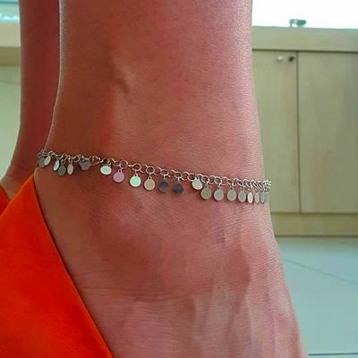 Срібний родированный браслет на ногу з монетками - срібний Браслет на ногу з висульками