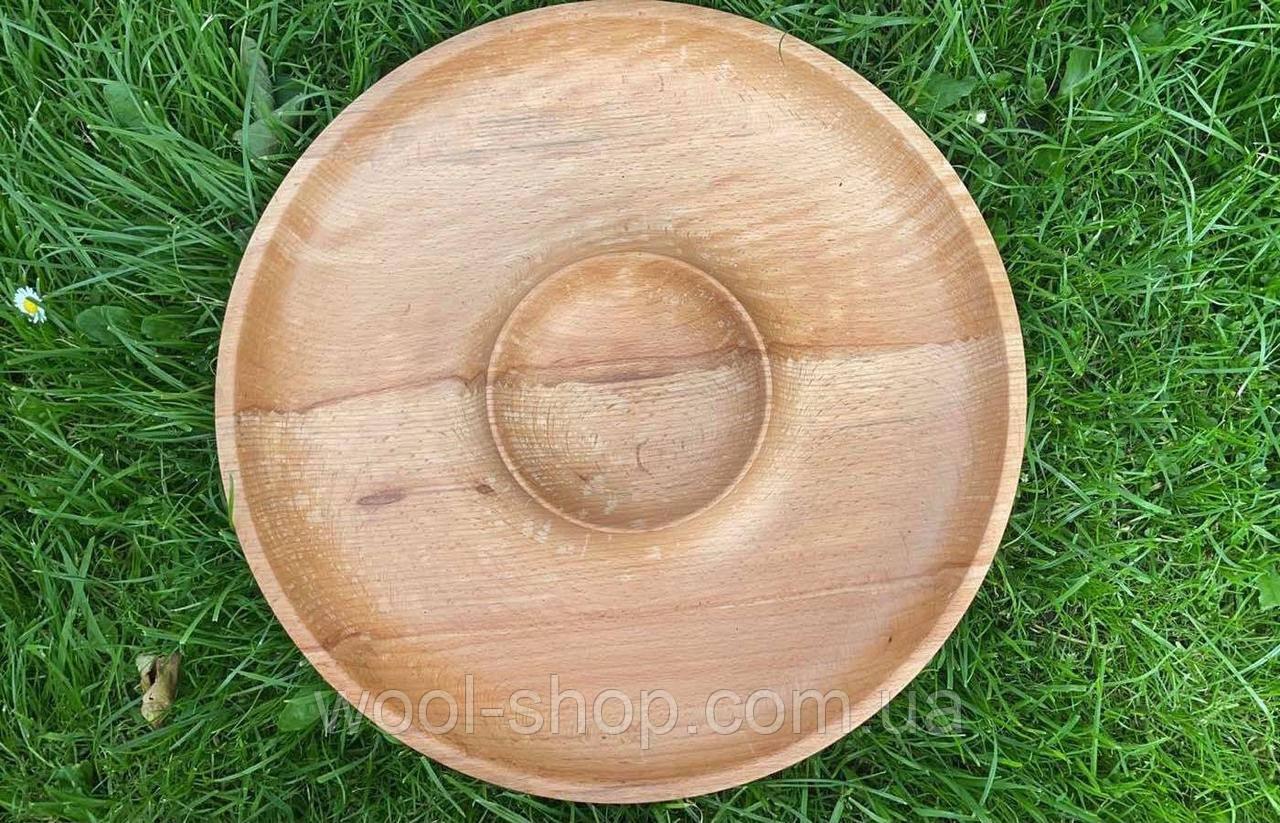 Дерев'яна менажниця шашличниця з соусом D35 см.
