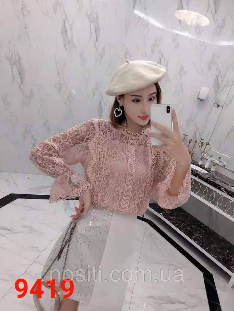Гіпюрова жіноча блузка довгий рукав