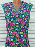 Річний халат без рукава 52 розмір Рожеві квіти, фото 3