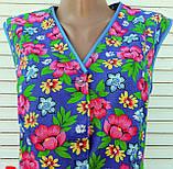 Річний халат без рукава 52 розмір Рожеві квіти, фото 6