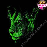 """Светящаяся футболка для подростков """"Лев профиль"""" хаки рост 140-146, фото 2"""