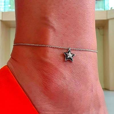 Срібний браслет на ногу Зірка - Браслет на ногу срібло
