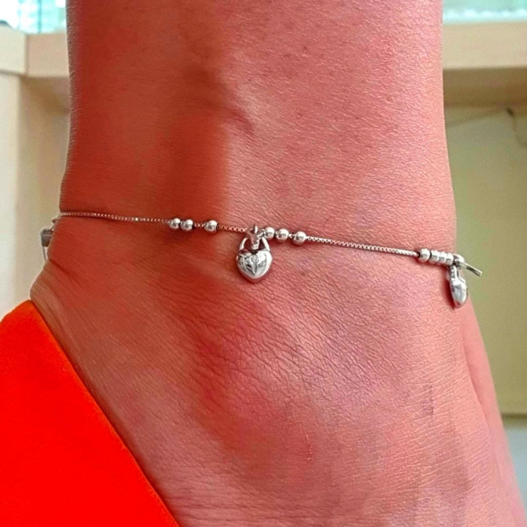 Браслет на ногу серебряный с висюльками Ключики и Замочки - Браслет на ногу с подвесками серебро