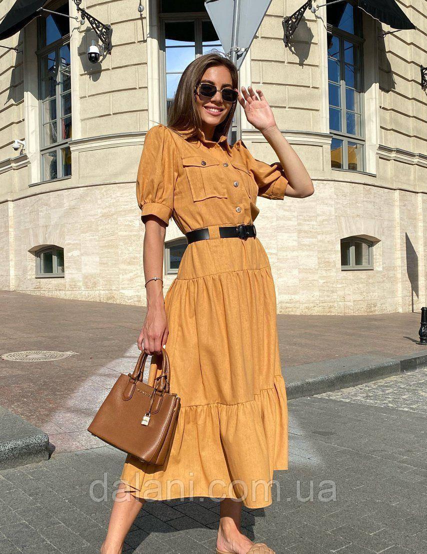 Жіноче гірчичне лляне плаття-сорочка з ременем