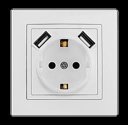 """Розетка подвійна з заземленням та двома USB портами серія """"ЕЛЕГАНТ"""" ТМ""""MARSHEL"""""""