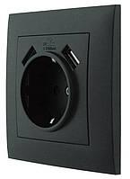 """Розетка одноместная с заземлением и двумя USB портами серия """"IDEAL BLACK"""" ТМ""""MARSHEL"""""""