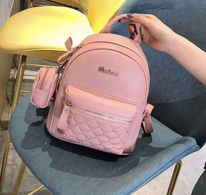 Женский городской рюкзак с брелком мини рюкзачок, набор 2 в 1 рюкзачек + ключница кошелек Розовый