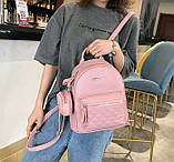 Женский городской рюкзак с брелком мини рюкзачок, набор 2 в 1 рюкзачек + ключница кошелек Розовый, фото 3