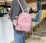 Женский городской рюкзак с брелком мини рюкзачок, набор 2 в 1 рюкзачек + ключница кошелек Розовый, фото 6