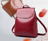 Жіночий міні рюкзак екокожа Червоний, фото 3