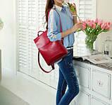 Жіночий міні рюкзак екокожа Червоний, фото 5