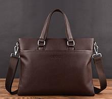 Стильна чоловіча сумка для ноутбука еко шкіра, чоловічий портфель під ноутбук, планшет, ноутбук, макбук Коричневий