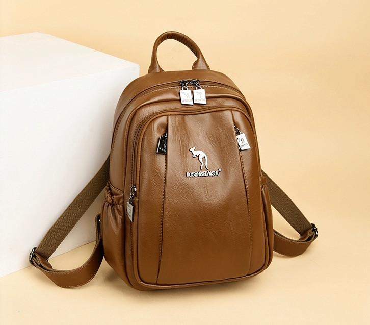 Женский городской рюкзак повседневный рюкзачок с кенгуру качественный, модный портфельчик эко кожа Коричневый