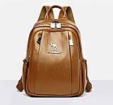 Женский городской рюкзак повседневный рюкзачок с кенгуру качественный, модный портфельчик эко кожа Коричневый, фото 3